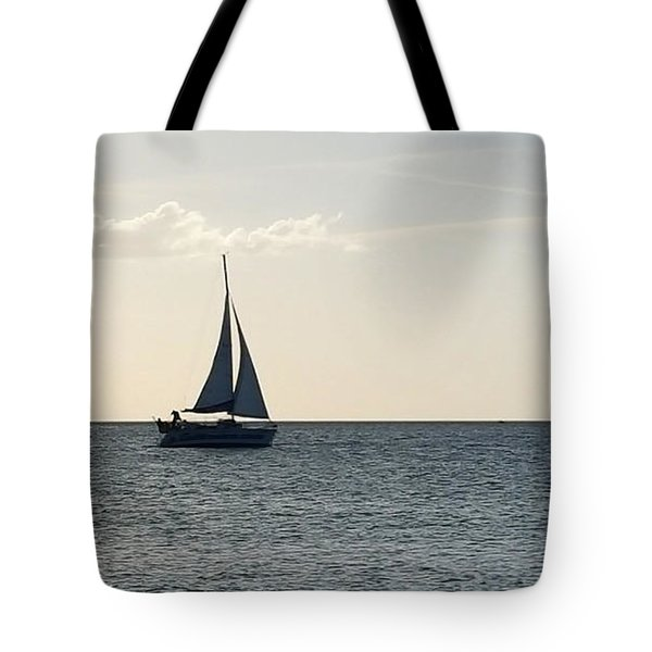 Silver Sailboat Tote Bag by Jeanne Forsythe