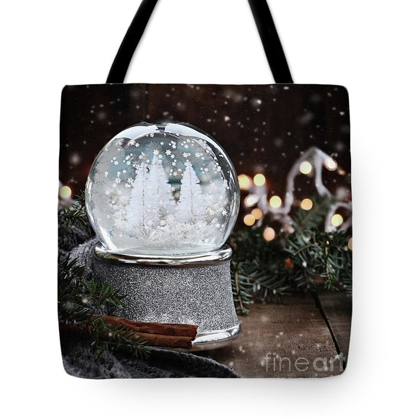 Silver Snow Globe Tote Bag