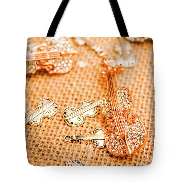 Silver Violin Pendant With Diamonds Tote Bag