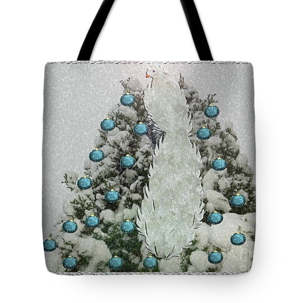 Silver Winter Bird Tote Bag