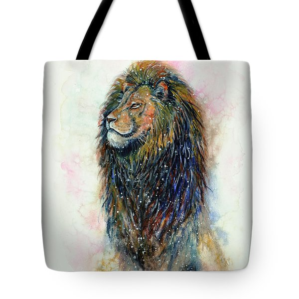 Tote Bag featuring the painting Simba by Zaira Dzhaubaeva