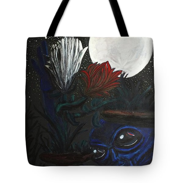 Similar Alien Appreciates Flowers By The Light Of The Full Moon. Tote Bag