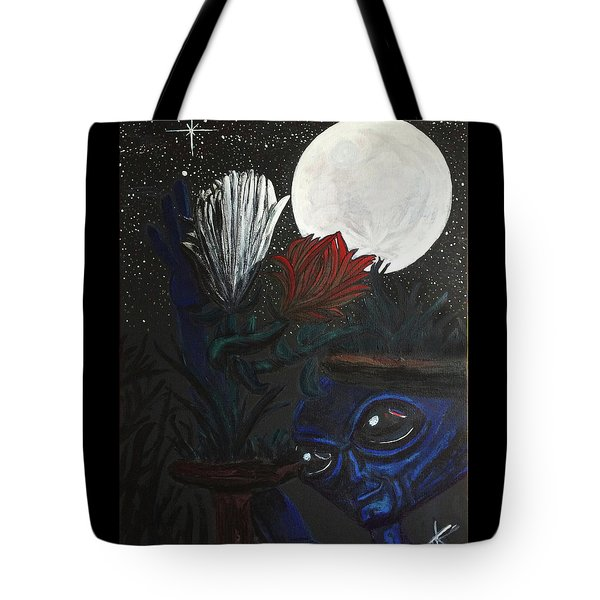 Tote Bag featuring the painting Similar Alien Appreciates Flowers By The Light Of The Full Moon. by Similar Alien