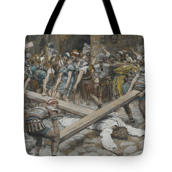 Simon The Cyrenian Compelled To Carry The Cross With Jesus Tote Bag by Tissot