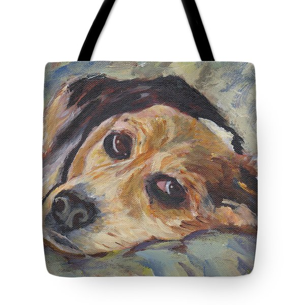 Tote Bag featuring the painting simonClydemcflyMcCue by Patricia Cleasby