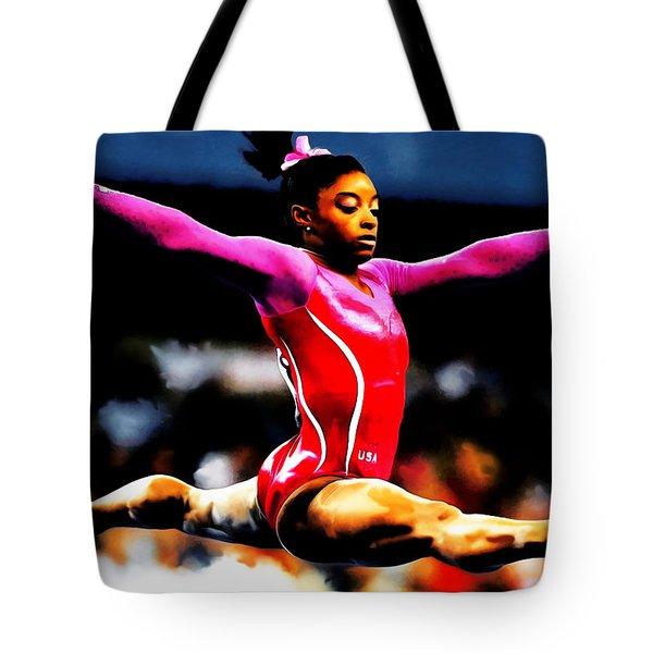 Simone Biles Tote Bag by Brian Reaves