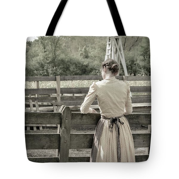 Tote Bag featuring the photograph Simple Life Girl On Farm by Julie Palencia