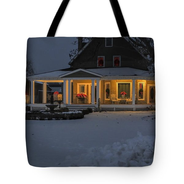 Tote Bag featuring the photograph Simply Elegant Porch by Judy Johnson