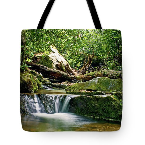 Sims Creek Waterfall Tote Bag by Meta Gatschenberger