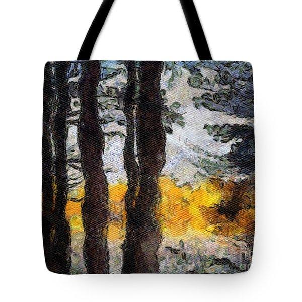 Simulated Van Gogh Scene Tote Bag