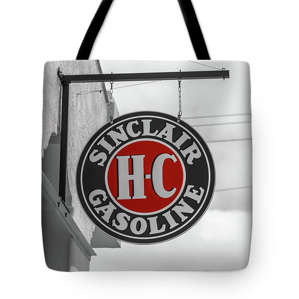 Tote Bag featuring the photograph Sinclair Gasoline Round Sign In Selective Color by Doug Camara