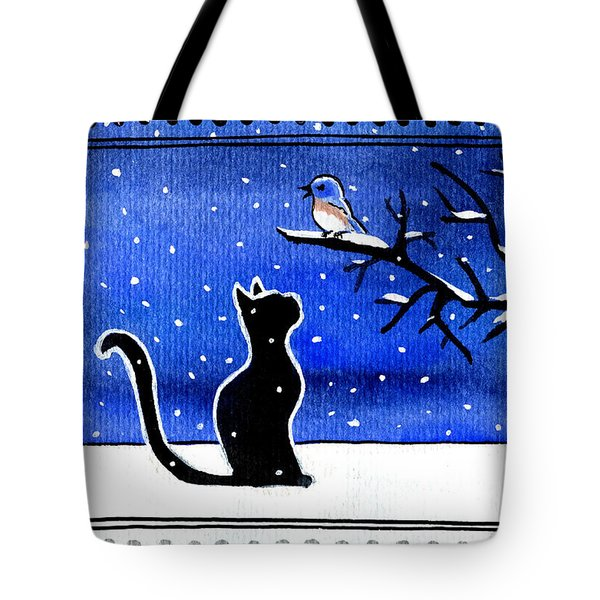 Sing For Me - Black Cat Card Tote Bag
