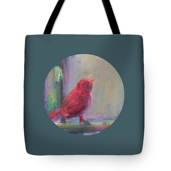 Tote Bag featuring the painting Sing Little Bird by Mary Wolf