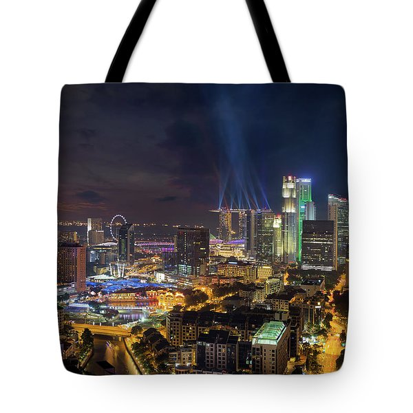 Singapore City Lights Tote Bag by David Gn