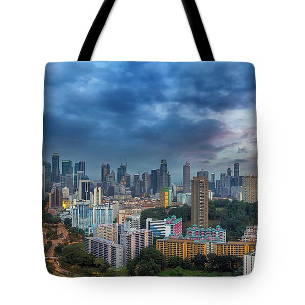 Singapore Cityscape At Sunset Tote Bag by David Gn