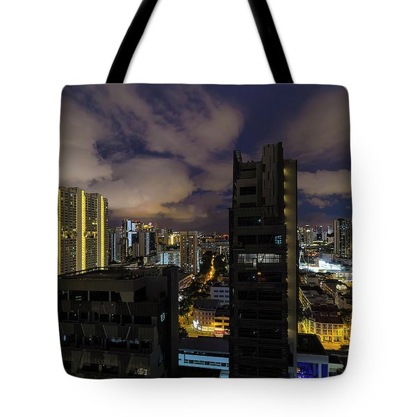 Singapore Cityscape On A Cloudy Night Tote Bag