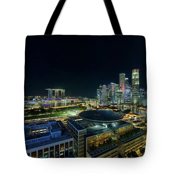 Singapore Modern Skyline By The River At Night Tote Bag by David Gn