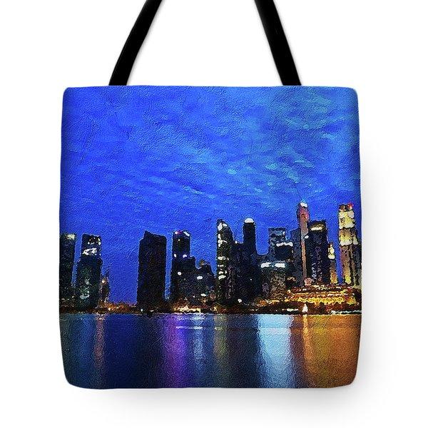Tote Bag featuring the digital art Singapore City by PixBreak Art