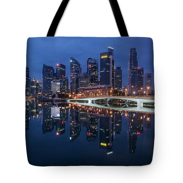 Tote Bag featuring the photograph Singapore Skyline Reflection by Pradeep Raja Prints