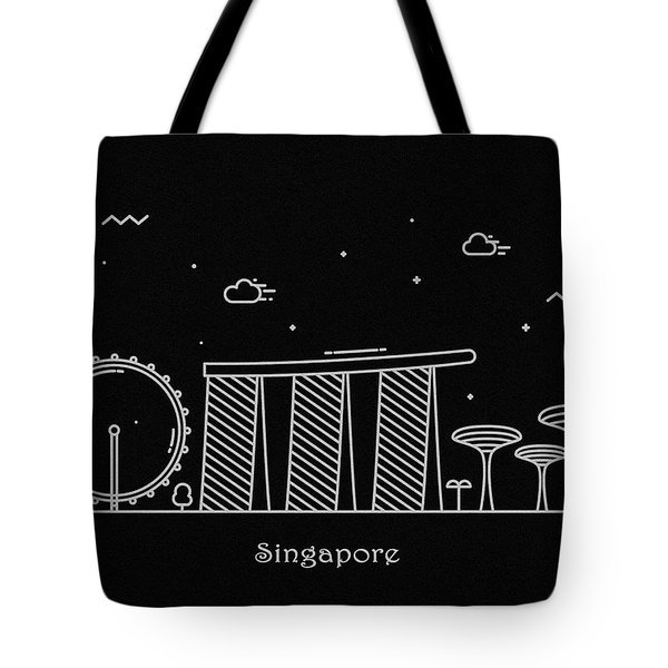 Singapore Skyline Travel Poster Tote Bag