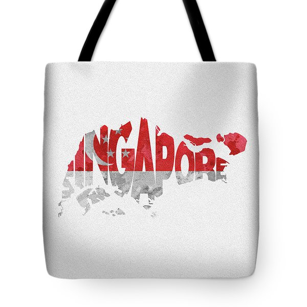 Singapore Typographic Map Flag Tote Bag
