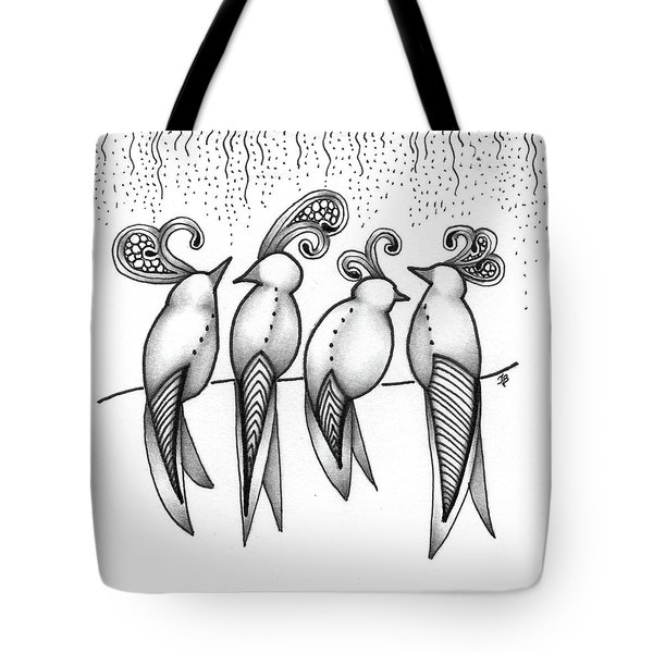 Tote Bag featuring the drawing Singin' In The Rain by Jan Steinle