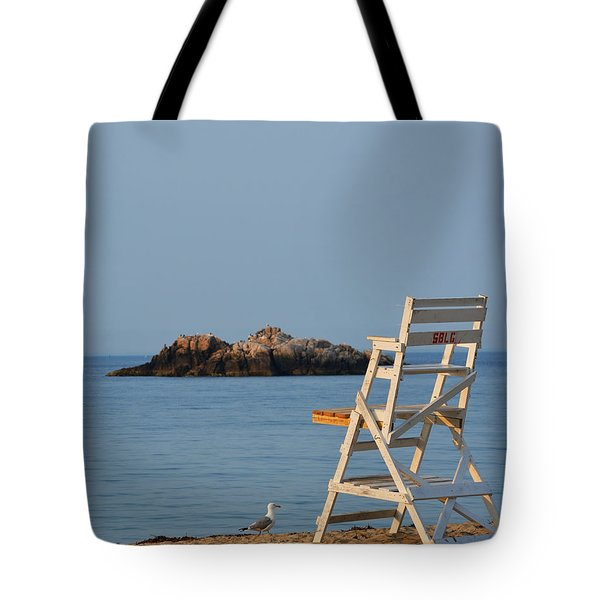 Singing Beach Lifeguard Chair Manchester By The Sea Ma Tote Bag