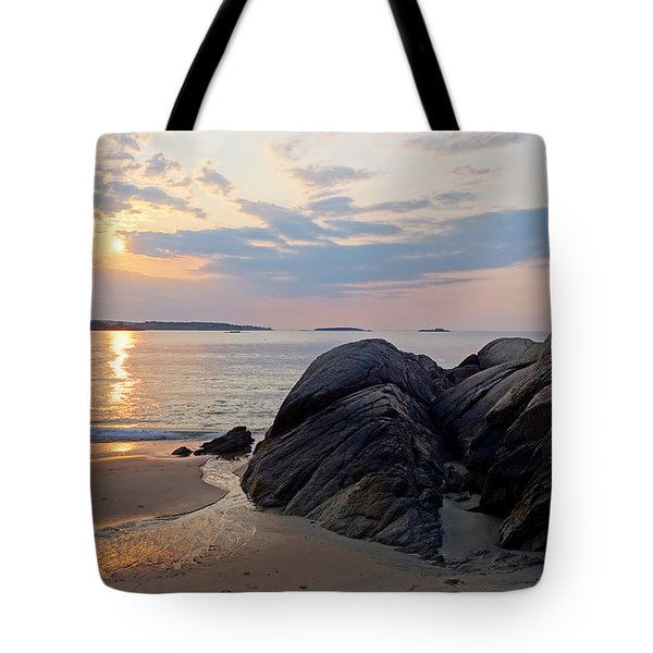 Singing Beach Rocky Sunrise Manchester By The Sea Ma Tote Bag