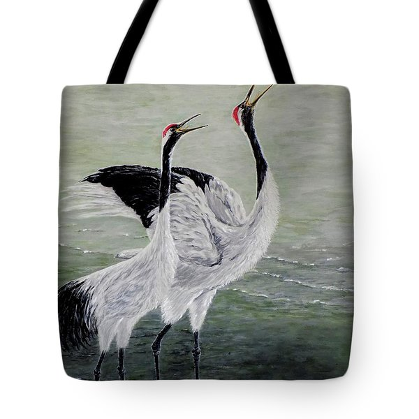 Tote Bag featuring the painting Singing Cranes by Judy Kirouac
