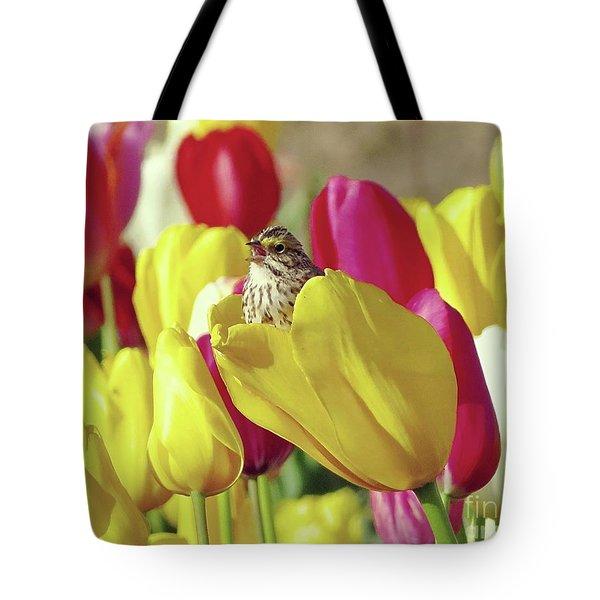 Singing In Tulips Tote Bag