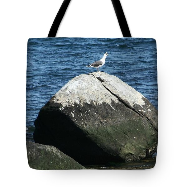 Tote Bag featuring the digital art Singing Seagull by Barbara S Nickerson