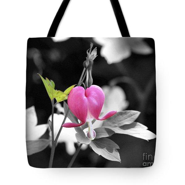 Single Bleeding Heart Partial Tote Bag