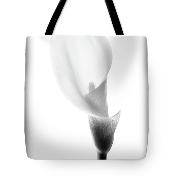 Tote Bag featuring the photograph Single Cala Black And White by Rebecca Cozart