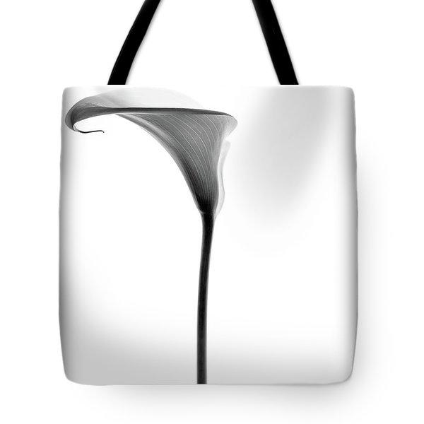 Single Cala Tall Black And Whte Tote Bag by Rebecca Cozart