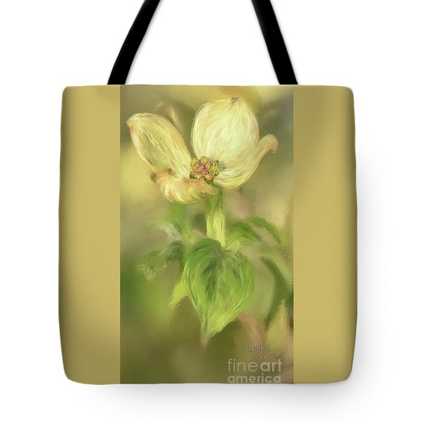 Tote Bag featuring the digital art Single Dogwood Blossom In Evening Light by Lois Bryan