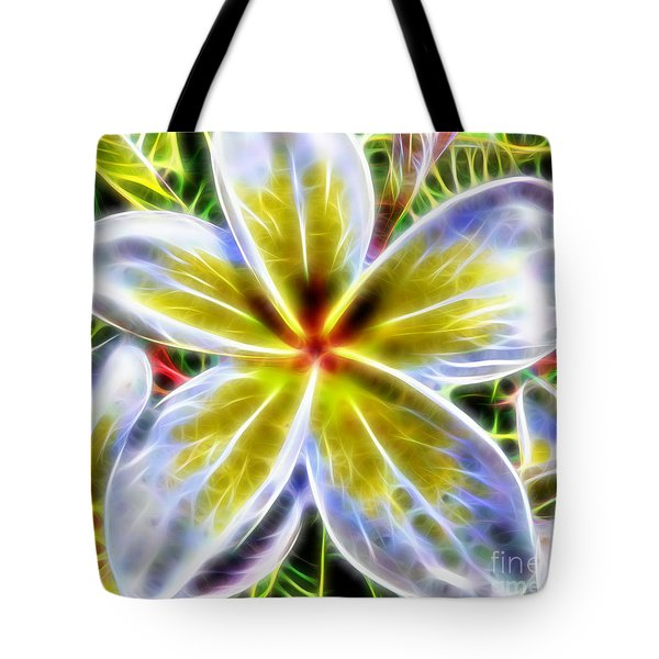 Single Fractal Frangipani Tote Bag