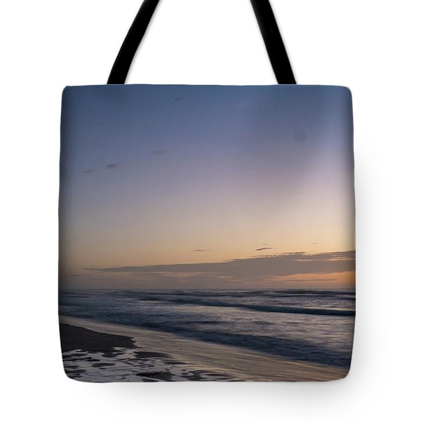 Single Man Walking On Beach With Sunset In The Background Tote Bag