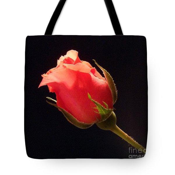 Single Pink Rose Bud Tote Bag