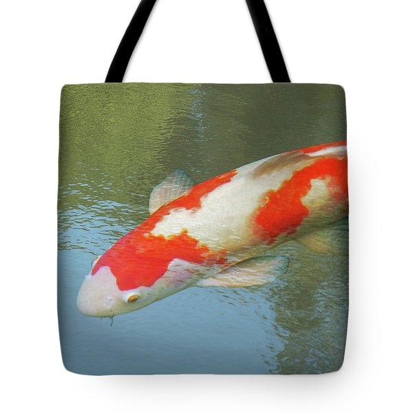 Single Red And White Koi Tote Bag by Gill Billington