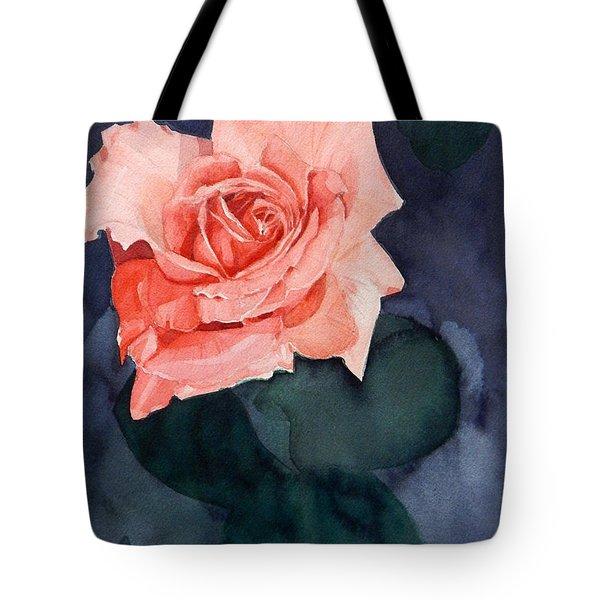 Watercolor Of A Magic Bright Single Red Rose Tote Bag