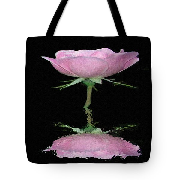 Single Reflected Pink Rose Tote Bag