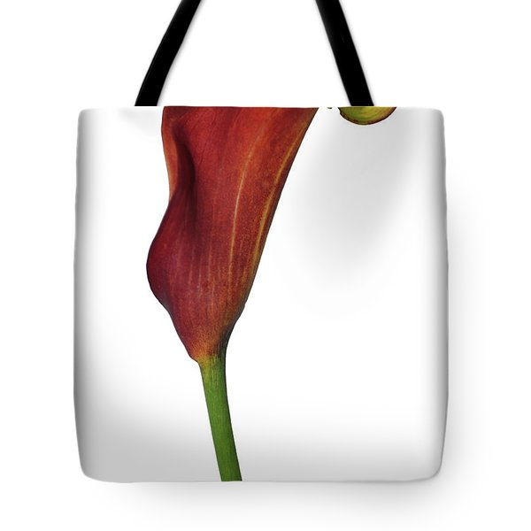 Single Rust Calla Lily Stem Tote Bag