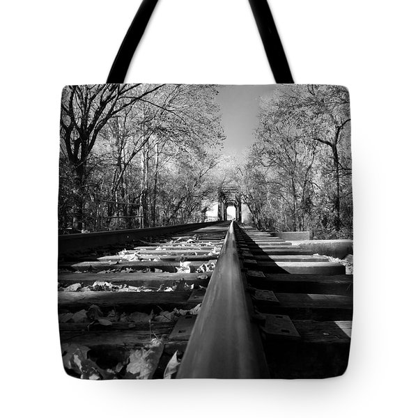 Single Track Mind - Black And White Tote Bag