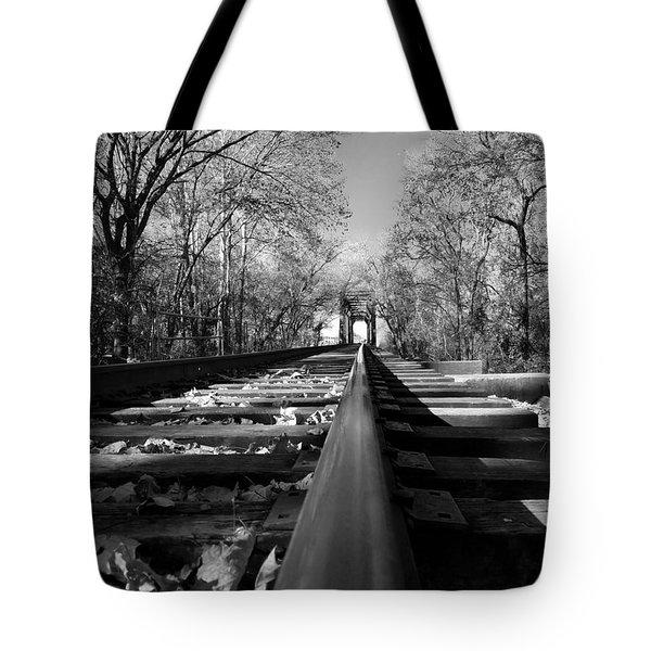 Single Track Mind - Black And White Tote Bag