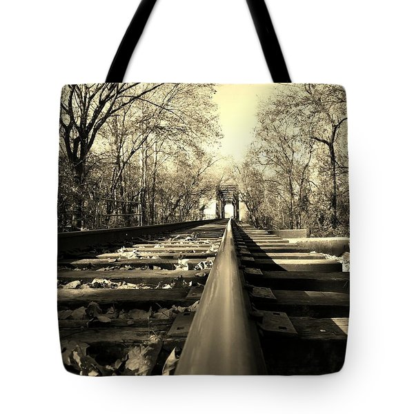 Single Track Mind - Sepia Tote Bag