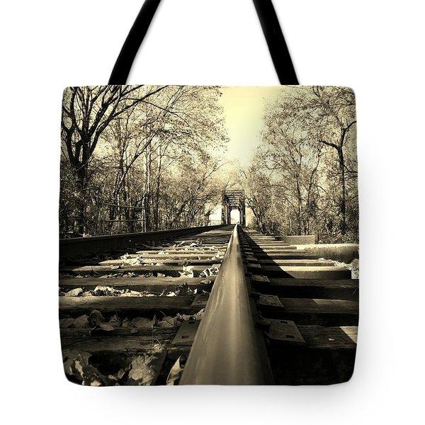 Single Track Mind - Sepia Tote Bag