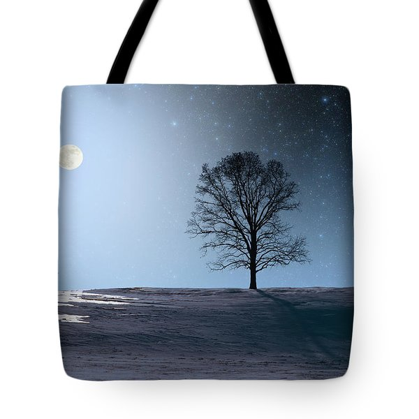 Tote Bag featuring the photograph Single Tree In Moonlight by Larry Landolfi