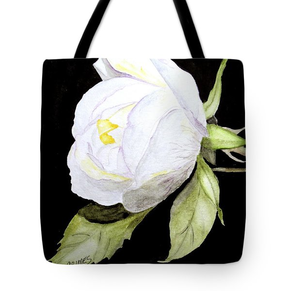 Single White  Bloom  Tote Bag