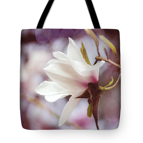 Single White Magnolia Tote Bag by Jordan Blackstone