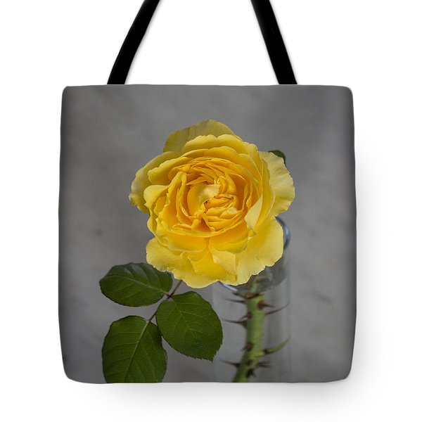 Single Yellow Rose With Thorns Tote Bag